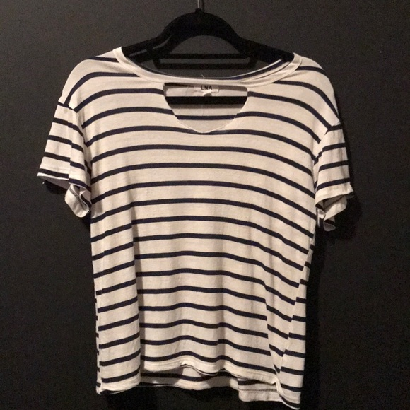6ca2df87d8 LNA Tops | Cutout Neck Striped Short Sleeve Tee | Poshmark
